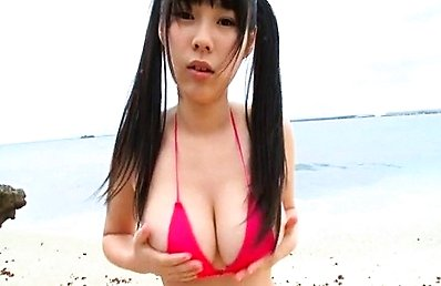 Chika Yuuki Asian fondles huge cans over bra in and outdoor